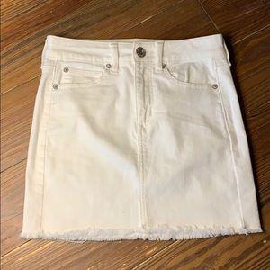 American Eagle white denim mini skirt 0